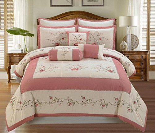 - 7Pcs Ivory Pink Green Colorful Rose Embroidery Comforter Set King Size