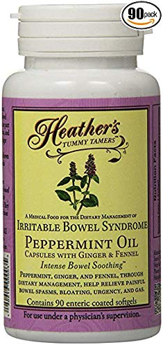 Heather's Tummy Care Peppermint Oil Capsules for IBS, 90 Count Bottle (Best Foods For Ibs Bloating)