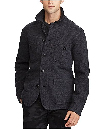 Merino Wool Jacket - Polo Ralph Lauren Men's Merino Wool Jacket (Dark Charcoal Heather, XXL)