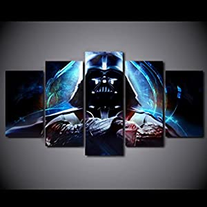 5PCS Framed Darth Vader Canvas – 5 Piece Canvas Starwars Artwork Canvas Prints Dark Side on Canvas Wall Art for Office & Home Wall Decor
