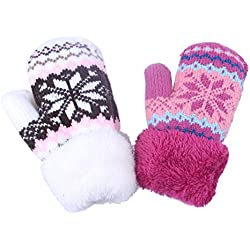 2Pairs Toddler Baby Boy Girl Warm Winter Mittens Gloves With Fleece Lining Snowflake Design (2Pairs Pink&White)