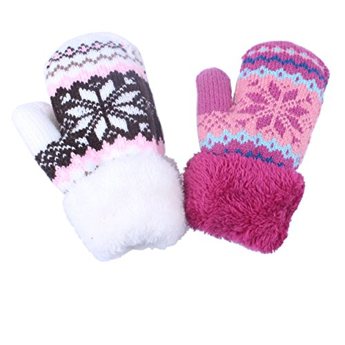 2Pairs Toddler Baby Boy Girl Warm Winter Mittens Gloves With Fleece Lining Snowflake Design (2Pairs Pink&White) Fleece Winter Mitten