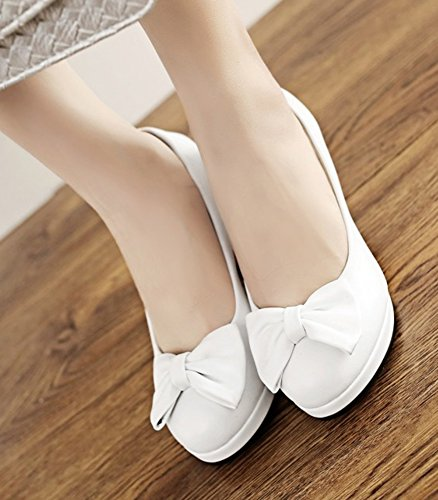 Aisun Low Slip Dressy Heels With High Toe Trendy Womens Cut Platform Chunky On Pumps White Bows Shoes Round SxrqBS