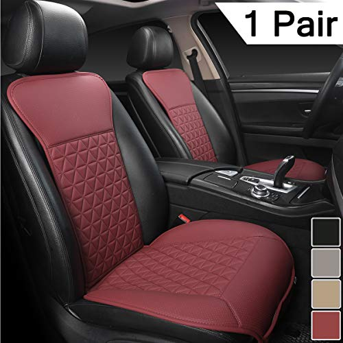 Black Panther 1 Pair Luxury PU Car Seat Covers Protectors for Front Seats, Triangle Pattern, Compatible with 95% Cars (Sedan/SUV/Truck/Van/MPV) - Wine Red