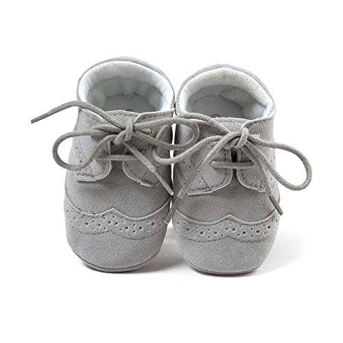Top-Sell 1pair Zapatos De Bebé Infantiles Faux Leather Anti Slip Soft Bottom Prewalker Shoelace Gris