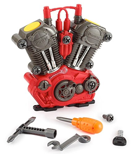 toys bhoomi build your own motorcycle engine overhaul set with lights  amp; sound mechanics construction toy modification playset –  20 pieces   Multi