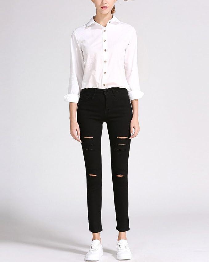 ab9544fcd4 Minetom Femme Printemps Moulant Taille Haute Stretch Troué Slim Leggings  Collant Skinny Longues Crayon Jeans Pantalon: Amazon.fr: Vêtements et  accessoires