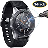 KIMILAR Compatible with Gear S3 & Samsung Galaxy Watch 46mm Screen Protector, Waterproof Tempered Glass Cover Compatible with Gear S3 / Galaxy Watch 46mm Smartwatch Crystal Clear Scratch Resist[3-Pack]