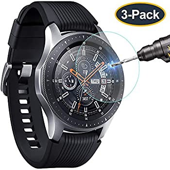 KIMILAR Compatible Samsung Gear S3 & Samsung Galaxy Watch 46mm Screen Protector, Waterproof Tempered Glass Cover Compatible Gear S3 / Galaxy Watch ...