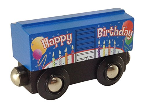 Blue Birthday Boxcar magnetic wooden train