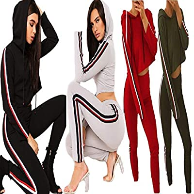 Hi Fashionz Womens Loungewear Crop Side Stripe Hooded Tracksuit Ladies 2 Pieces Jogging Suit US 4-10