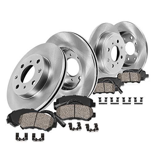 (Callahan CRK02015 FRONT + REAR OE 4 Lug Rotors + Ceramic Brake Pads + Hardware + Sensors [ Mini Cooper Coupe Clubman S ])