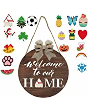 Wooden Seasonal Welcome Door Sign Interchangeable Welcome to Our Home Round Wood Hanging Front Door Sign with Burlap Bow with 19 Seasonal Ornament for Independence Day Holiday Porch (Brown)