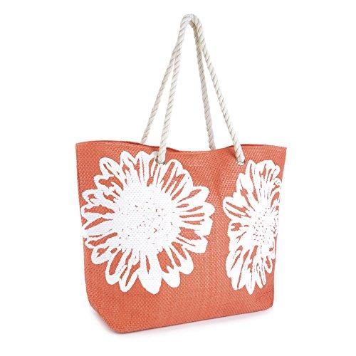 pour Bags à Sacs femme Fleur d'été bandoulière Sac Corde Poignée toile Summer Impression Orange sur tdqRan