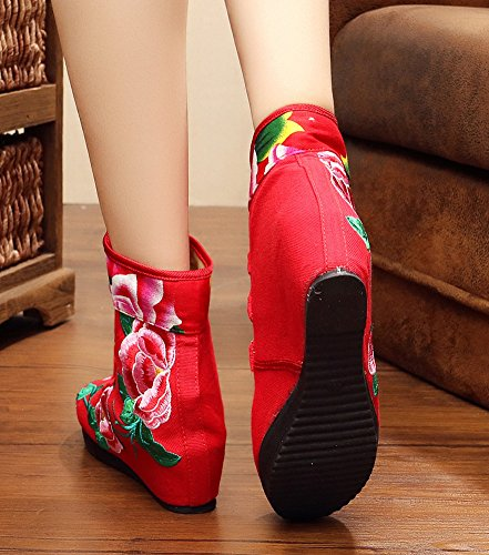 Booties Shoes AvaCostume Embroidery Red Womens Low Beijing Heel Casual Old Fashion Wedge xvzqxwA