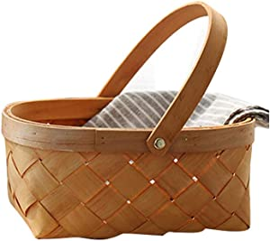 LIOOBO Seagrass Basket,Portable Handmade Rattan Storage Container Storage Basket Houseware Storage Basket Wooden Woven Storage Basket with Handle 9.474 inch