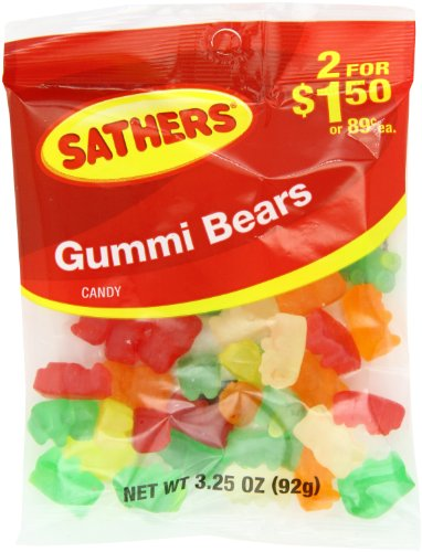 Farley's & Sathers Candy, Gummy Bears, 3.25 Ounce, Pack of ()