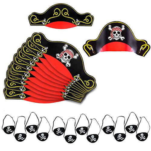 Pirate Party Supplies for Kids - Pirate Hats, Eye Patches, Party Favors - Pirate Party Decorations by Tigerdoe (12 Pirate Hats & 12 Pirate Eye Patches) -