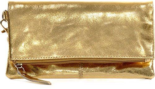 CNTMP, Women's Handbags, Clutch, Clutches, Clutchbags, Partybags, Trend-Bags, Metallic, Leather Bag, Gold, 21x11x2,5cm (W x H x D)
