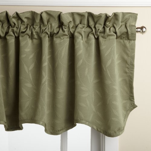 LORRAINE HOME FASHIONS Whitfield 52-inch by 18-inch Scalloped Valance, Sage