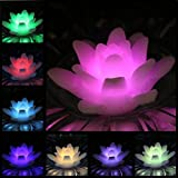 ARDUX LED Floating Candles, Lily-shaped Wax Waterproof Candle Tealight Night Light Flameless Candle with Battery-powered for Wedding Party Decoration (Pack of 4)