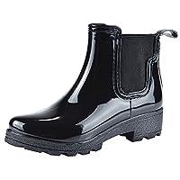 Jamron Women Stylish Chelsea Boots Snow Rain Boots High Ankle Chunky Heel Wellington Boots Black SN02002 US8.5