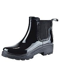 Jamrom Women Stylish Chelsea Boots Snow Rain Boots High Ankle Chunky Heel Wellington Boots