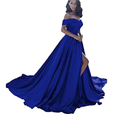 Off Shoulder Long Satin Prom Dresses 2018 Formal Evening Gowns (Royal Blue, 22 Plus
