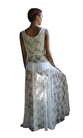 fabf5d72f288 Womens Sexy Honeymoon White Lace Maxi Dress Cover-Up: Amazon.co.uk: Clothing