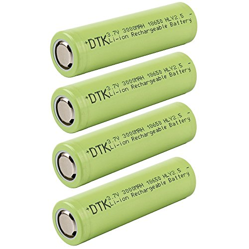 DTK 4 Packs Flat Top 18650 3.7V 3000mAh Li-ion Rechargeable Battery with Storage Case (Rechargeable 3000mah Battery)