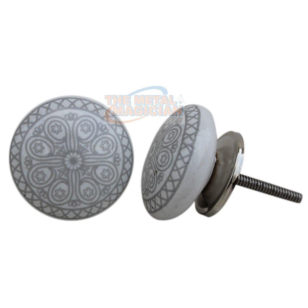 Juego de 12 pomos de cer/ámica y metal gris para caj/ón de rueda y tiradores hechos a mano con acabado plateado por el mago de metal
