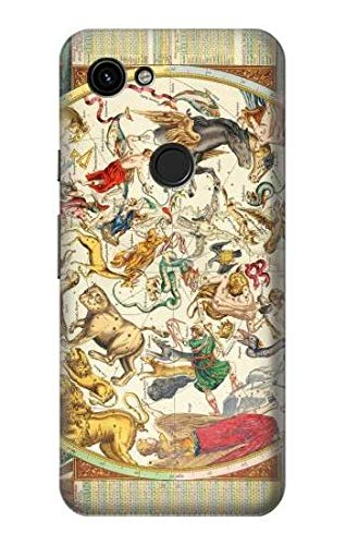 R3145 Antique Constellation Star Sky Map Case Cover for Google Pixel - 3a Antique