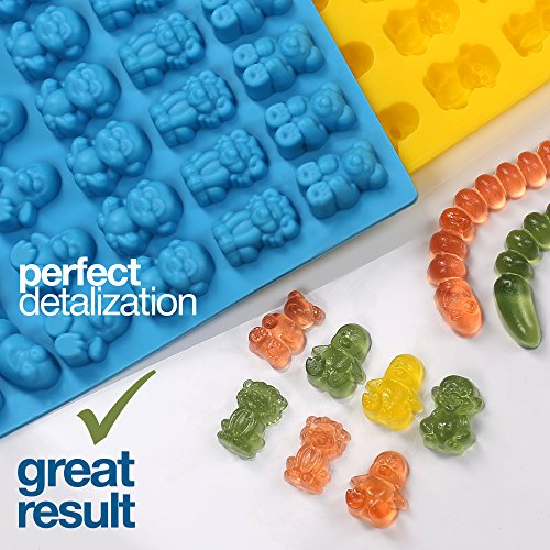 Gummy Bear Mold Bpa Free Silicone (Yellow, Blue) - Set of 2 for 86 Candies - 5 Different Types of Animals - Dropper Included - Candy Molds, Gummy Worm Mold, Chocolate Molds, Gelatin Molds, Ice Cube by The Silly Pops (Image #1)