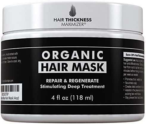 Organic Biotin Hair Mask For Hair Growth by Hair Thickness Maximizer. Stop Hair Loss and Thinning. Hair Thickening Conditioner DHT Blocking Treatment for Deep Repair with Keratin, Black Castor, Jojoba