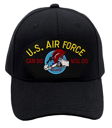 Patchtown US Air Force Red Horse - Charging Charlie Hat/Ballcap (Black) Adjustable One Size Fits Most (Charlie Adjustable Hat Womens)
