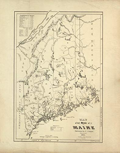 Art Oyster Vintage Map of The State of Maine, 1831-43