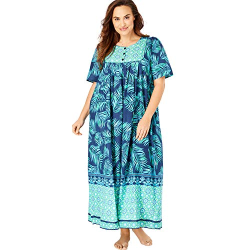 Only Necessities Women's Plus Size Mixed Print Long Lounger - Navy Leaf, 4X ()