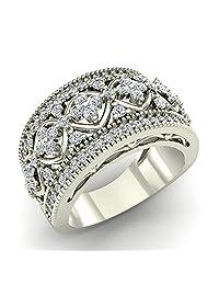 0.95 ct tw Cocktail Diamond Ring Filigree Style 18K Gold (G,VS)