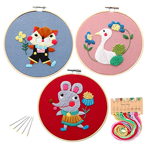 Kakeah 3 Pack Full Range of Stamped Embroidery Starter Kit with Pattern and Instructions, Including Embroidery Cloth with Pattern,Bamboo Embroidery Kits (Swan cat Mouse)