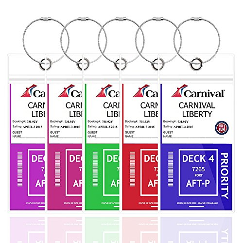 Cruise Tags Luggage Etag Holders Zip Seal & Steel Loops Thick PVC