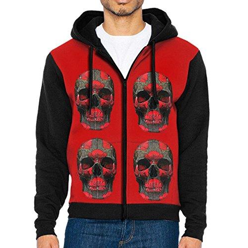 Cool Red Rose Skull Men's Sweatshirts Long Sleeves Zip Hoodie With Pocket T Shirt