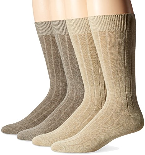 Dockers Men's Wide Rib Dress Crew Socks (4 & 8 Packs), Khaki Assorted), Shoe Size: 6-12