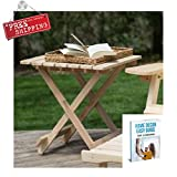ATS Patio End Table Furniture Outdoor Wood Small Square Patio Side Table Folding Backyard Garden & eBook by AllTim3Shopping