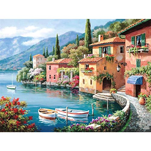 Yomiie 5D Full Drill Diamond Painting by Number Kits Italian Seaside for Kids Adults, Mediterranean Landscape Paint with Diamonds Art Embroidery Cross Stitch Set DIY Craft (12x16inch)
