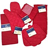 Kitchen Towel Set with 2 Quilted Pot Holders, Oven Mitt, Dish Towel, Dish Drying Mat, 2 Microfiber Scrubbing Dishcloths…