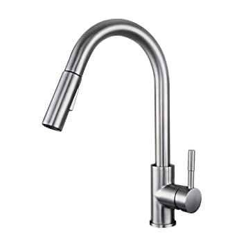 kes pull down kitchen faucet stainless steel modern single large tall commercial pullout bar sink faucet - Bar Sink Faucet