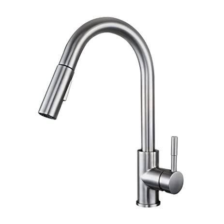 KES Pull Down Kitchen Faucet Stainless Steel Modern Single Large Tall  Commercial Pullout Bar Sink Faucet