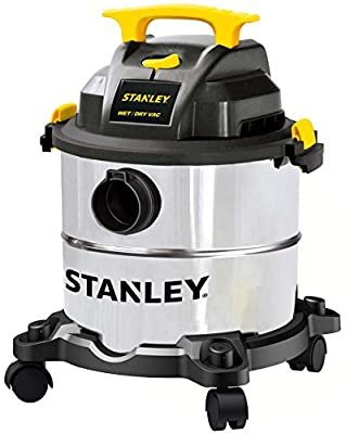STANLEY Wet/Dry Vacuum SL18115, Stainless Steel Tank, 5 Gallon 4HP Shop Vacuum, Portable Style Ideal for Home/Shop/Jobsite Dust Collection Job with Vacuum Attachments