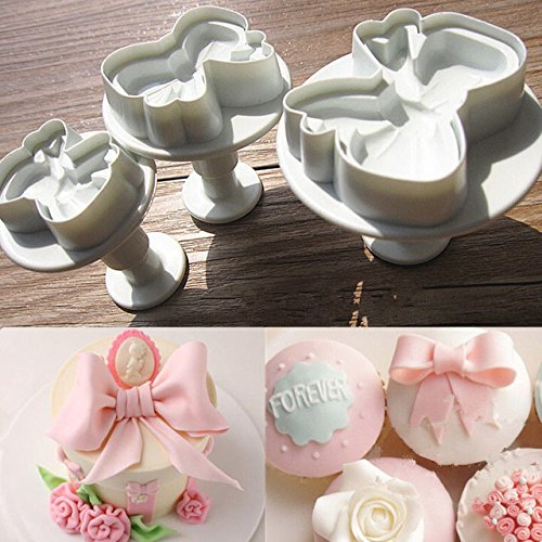 Bow Plunger Cutters-NACOLA 3PCS Bow Knot Cake Icing Decorating Cookie Plunger Cutters Bows Fondant Mold For DIY Cake Decoration (Charm Cutter Cookie)