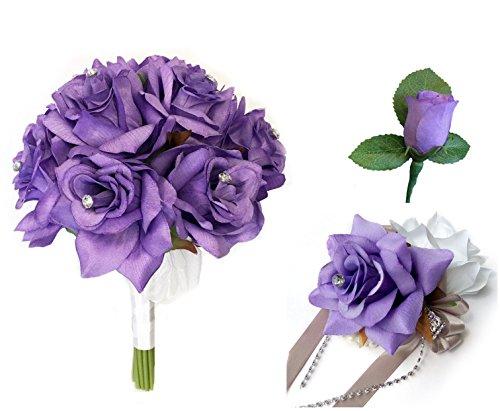 (3pc set-Keepsake beautiful rose bouquet,wrist corsage,and boutonniere(Iris)